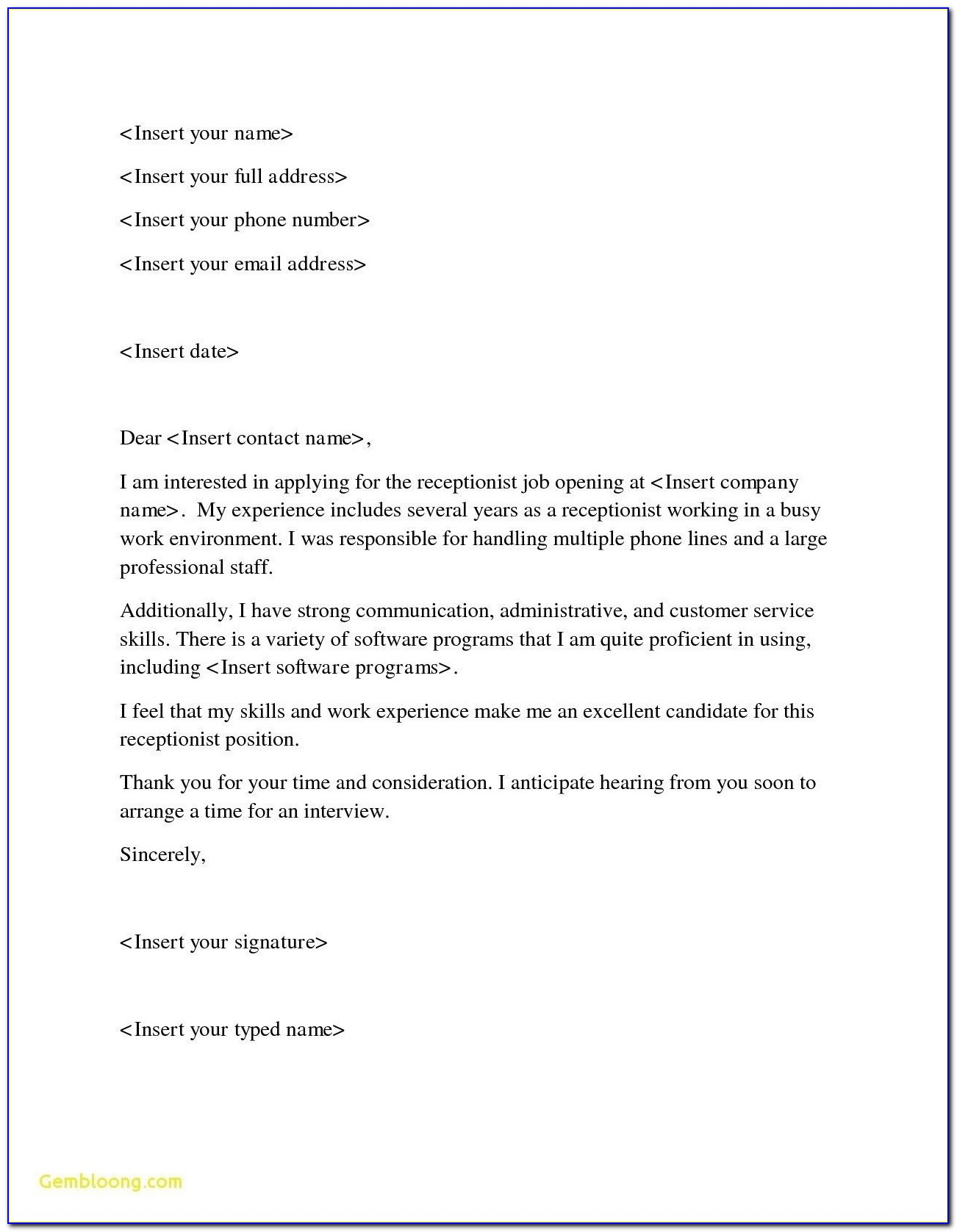 Medical Receptionist Cover Letter Uk