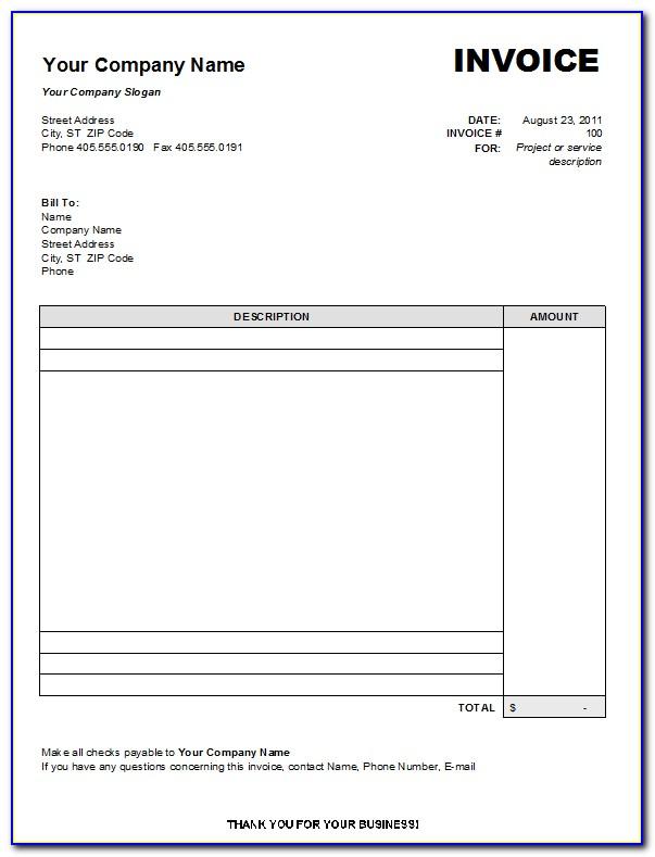 Microsoft Office Blank Invoice Template