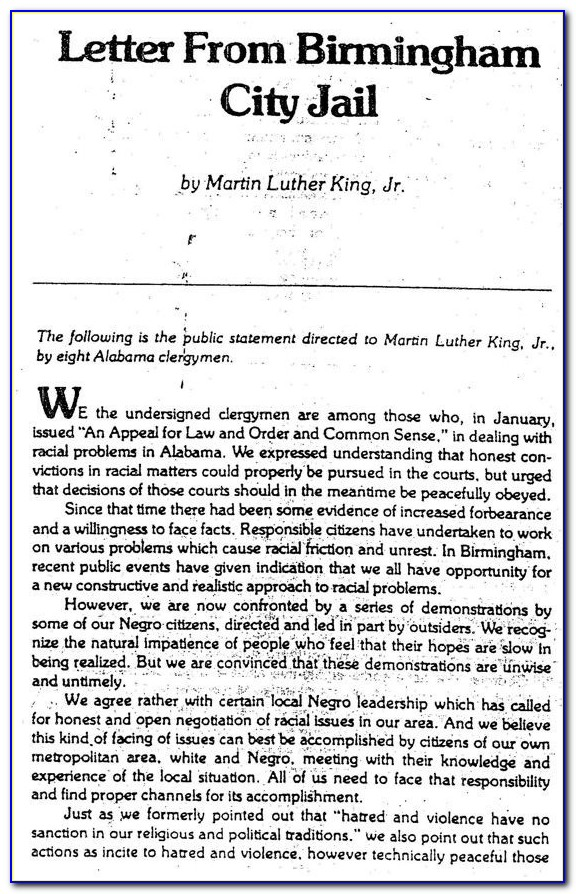 Mlk Letter From Birmingham Jail Summary