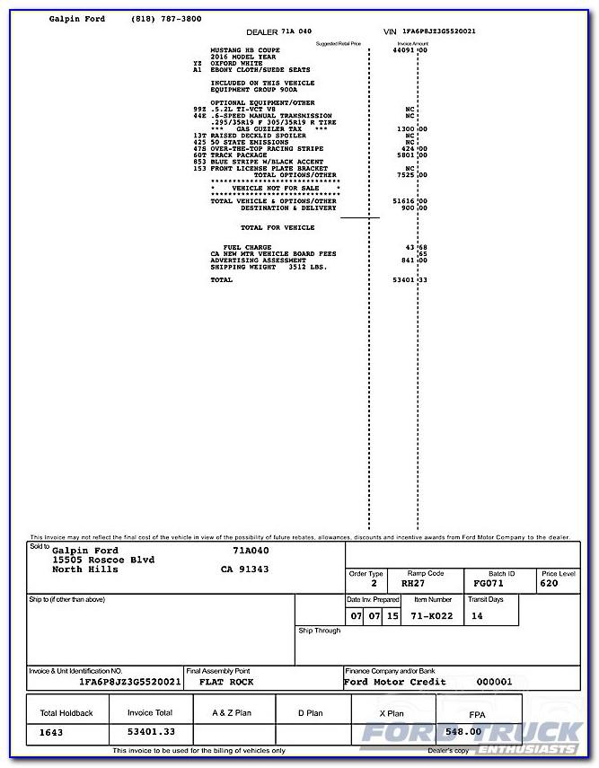 Mustang Gt Dealer Invoice