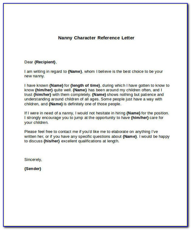 Nanny Reference Letter Sample Uk