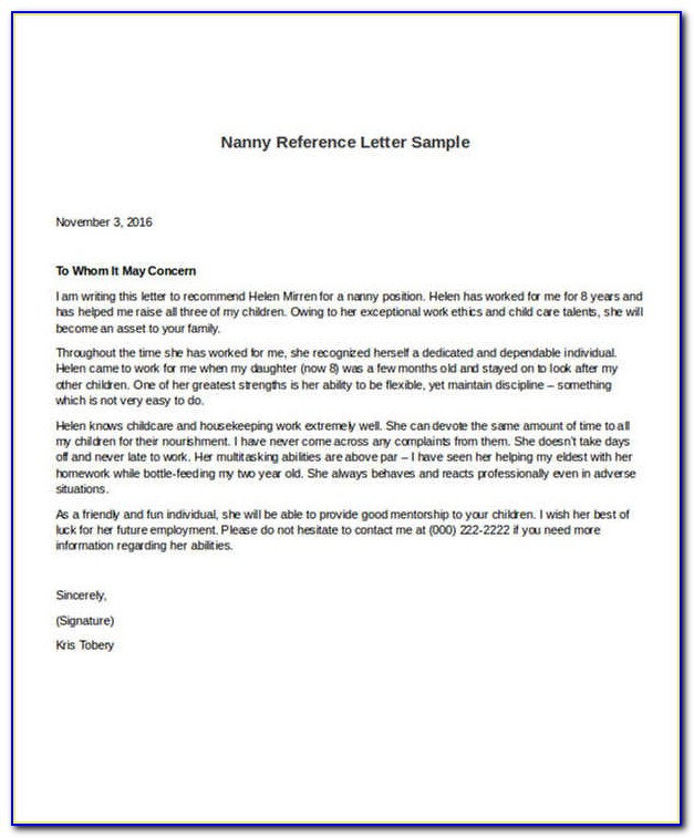 Nanny Reference Letter Sample
