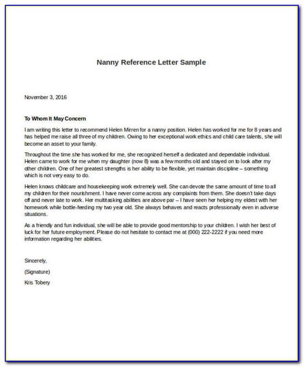 Nanny Reference Letter Sample