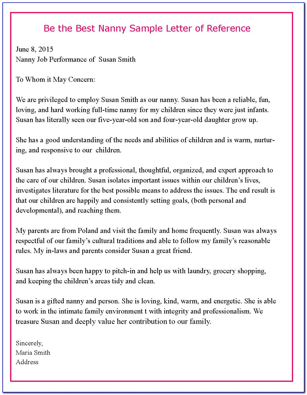 Nanny Reference Letter Template