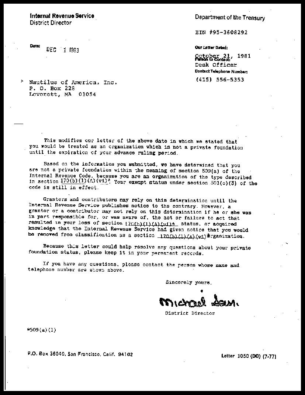 Nonprofit Determination Letter