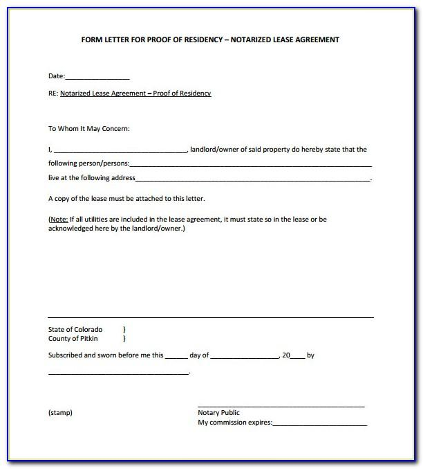 Notarized Letter Of Residency From Landlord