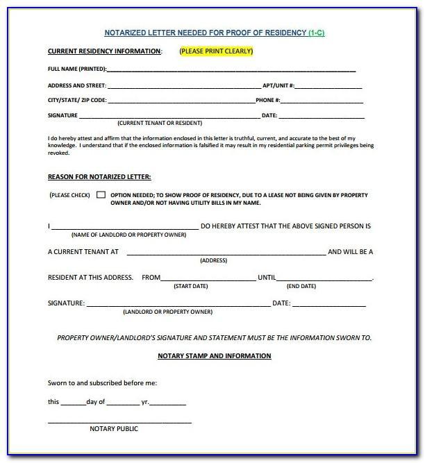 Notarized Letter Of Residency Nh