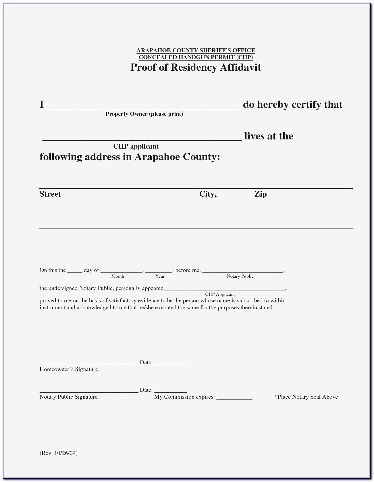 Notarized Letter Of Residency Sample