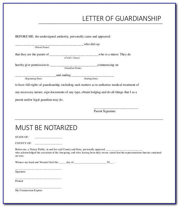 Notarized Letter Of Temporary Guardianship