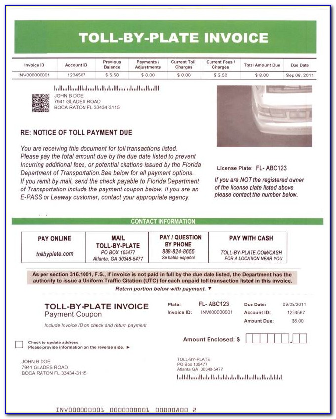 Pay Toll Enforcement Invoice Florida