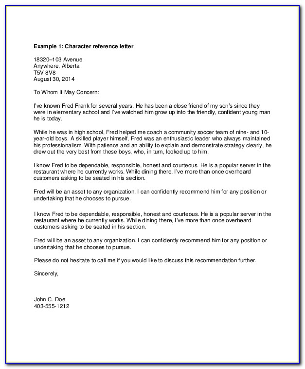 Personal Recommendation Letter Template Pdf
