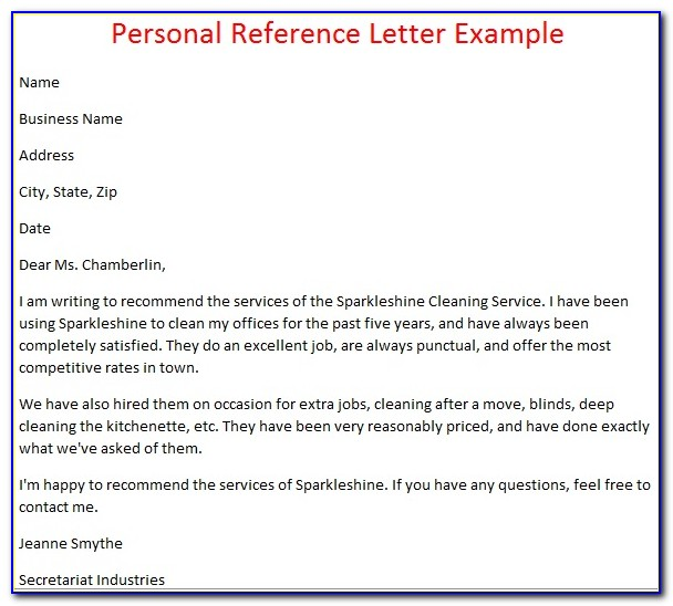 Personal Recommendation Letter Template Samples