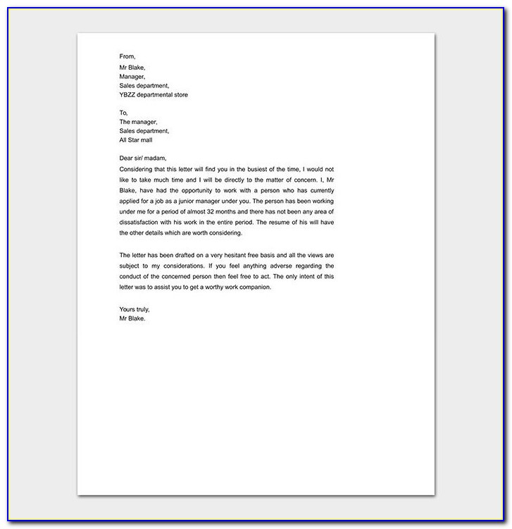 Personal Reference Letter Of Recommendation Examples