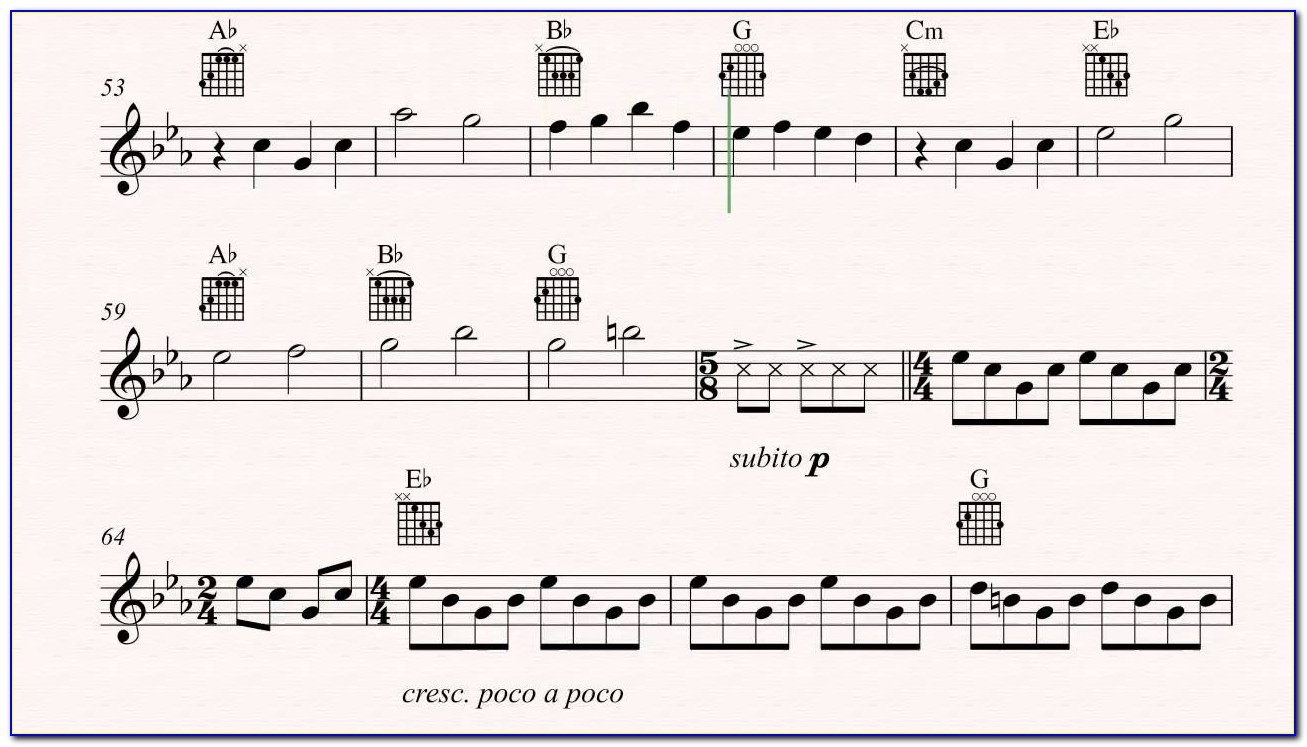 Piano Letter Notes For Bohemian Rhapsody