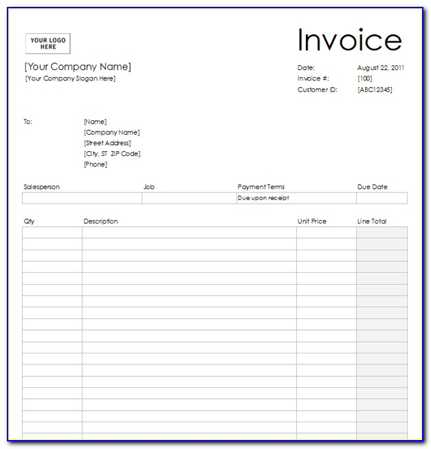 Pictures Of Blank Invoices