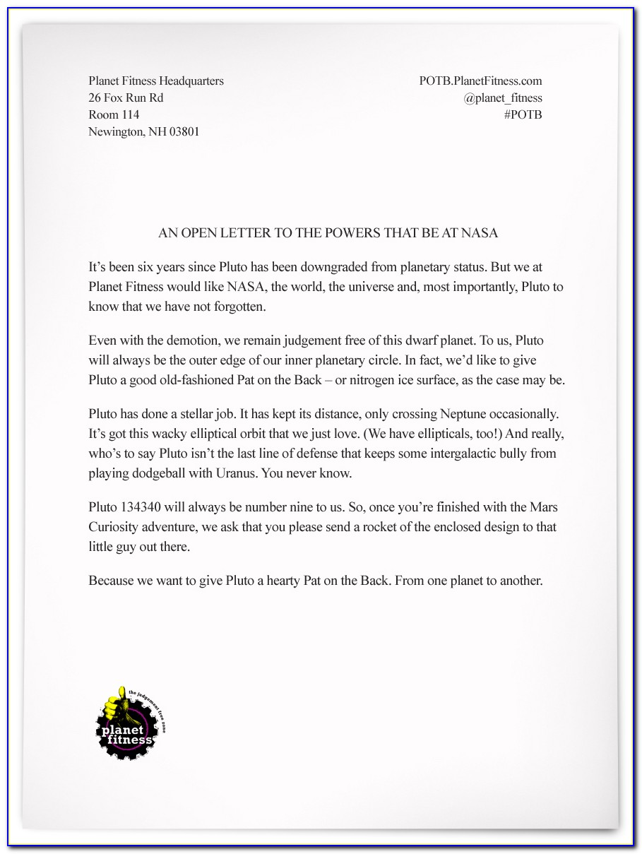 Planet Fitness Cancellation Letter Template