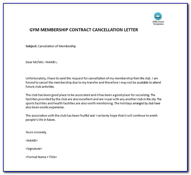 Planet Fitness Cancellation Template
