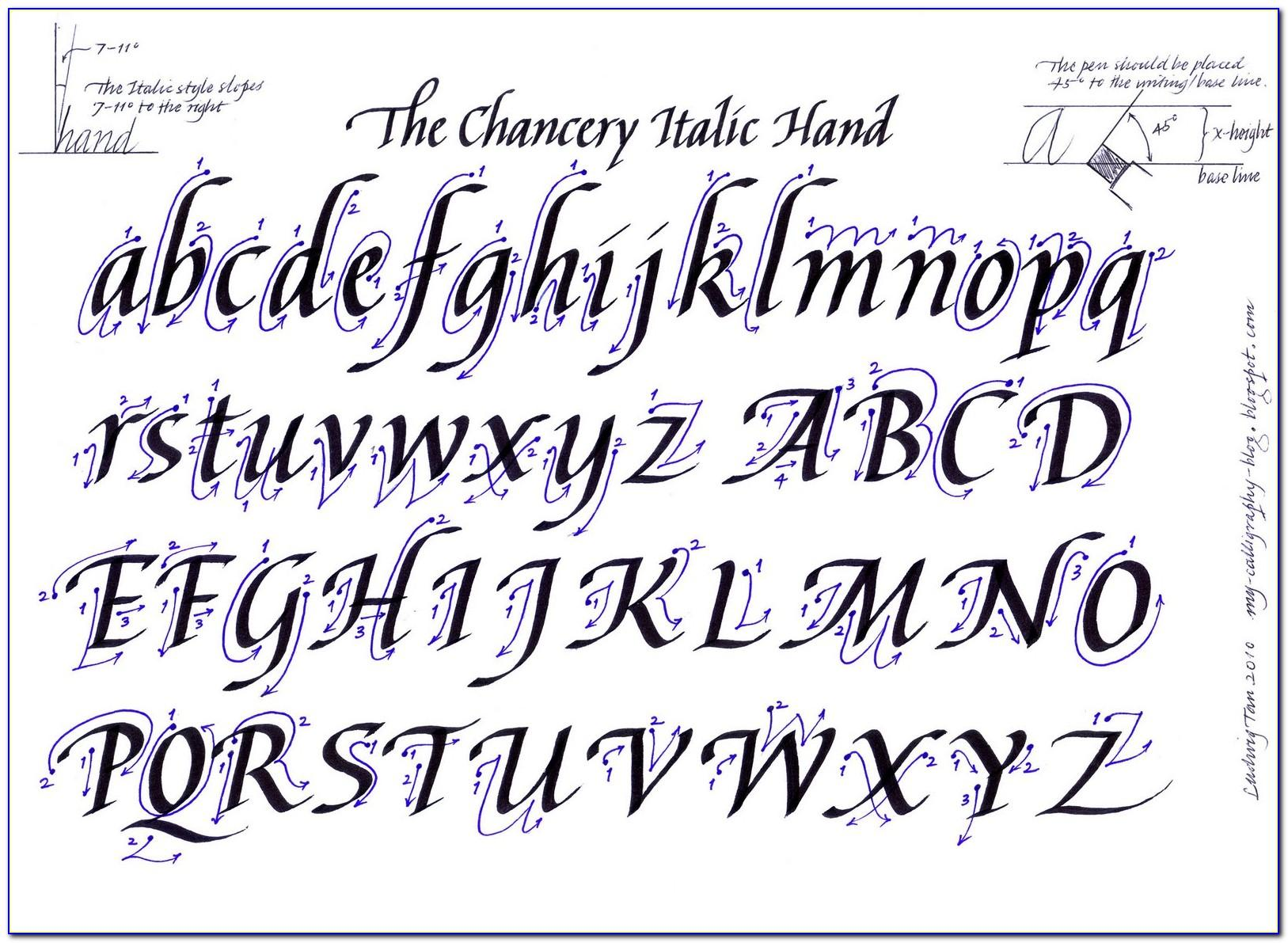 Printable Calligraphy Letters A Z