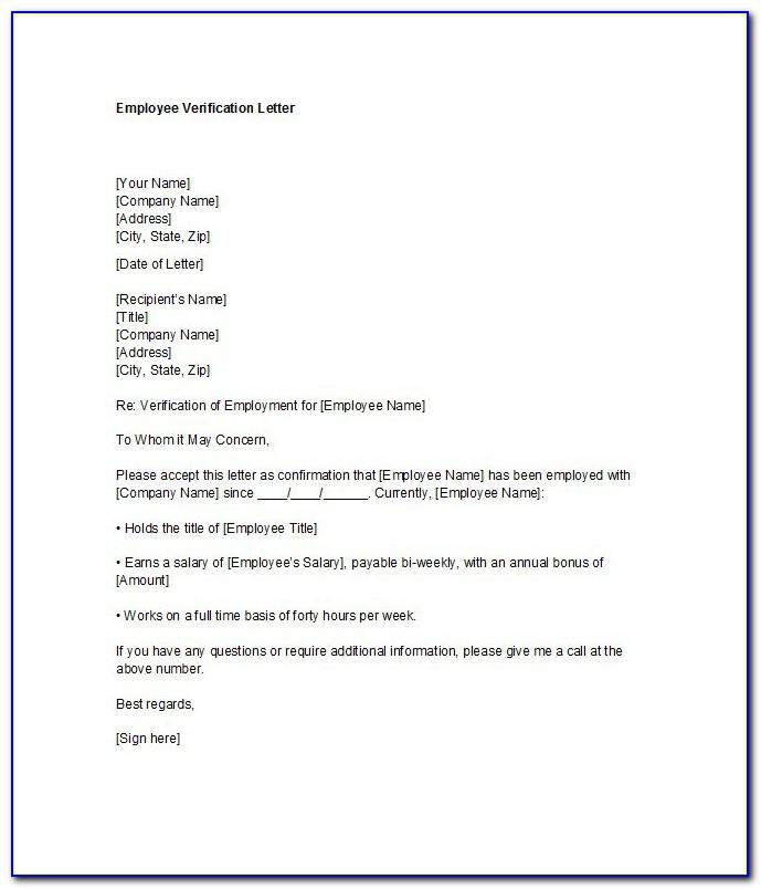 Proof Of Employment Letter Template Canada