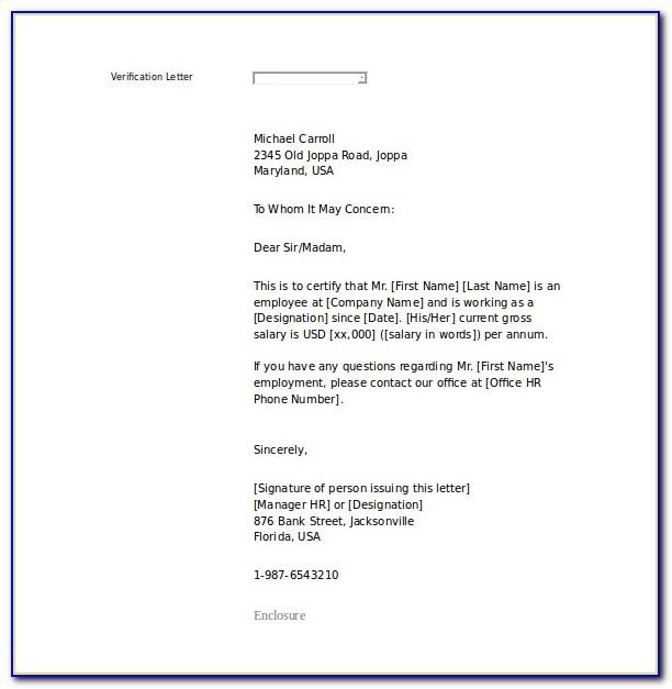 Proof Of Employment Letter Template Pdf