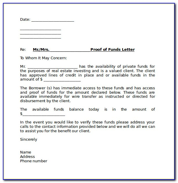 Proof Of Funds Letter Example