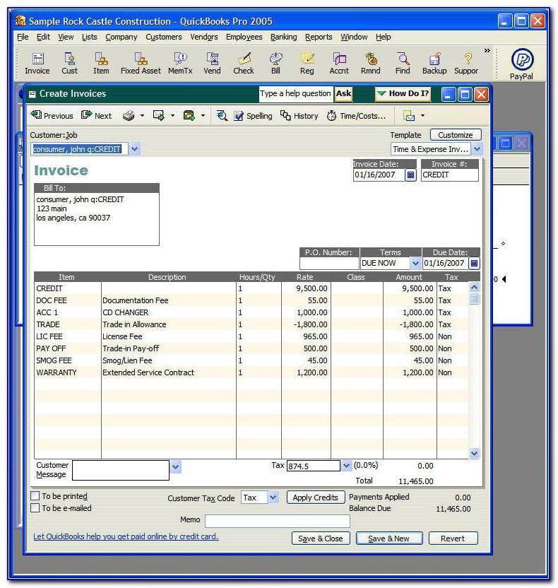 Quickbooks Iif Invoice Template