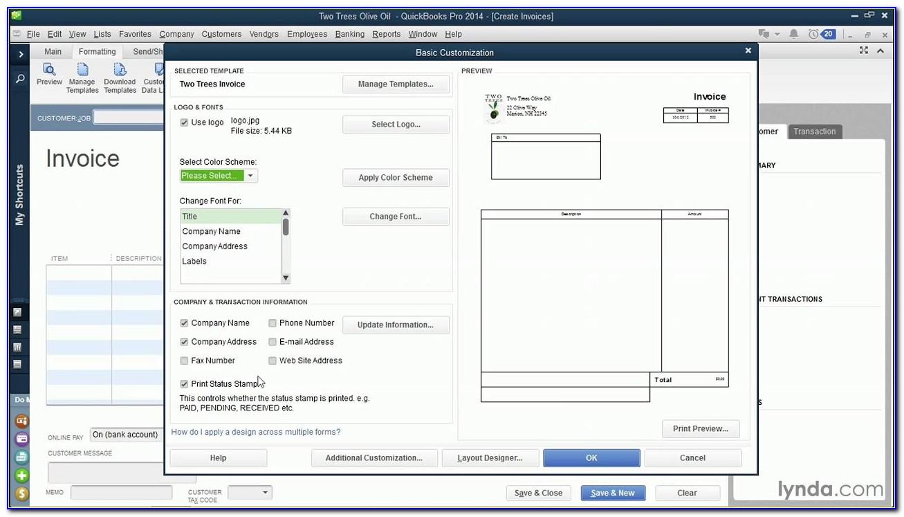 Quickbooks Pro Edit Invoice Template