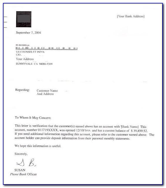 Real Estate Proof Of Funds Letter Sample