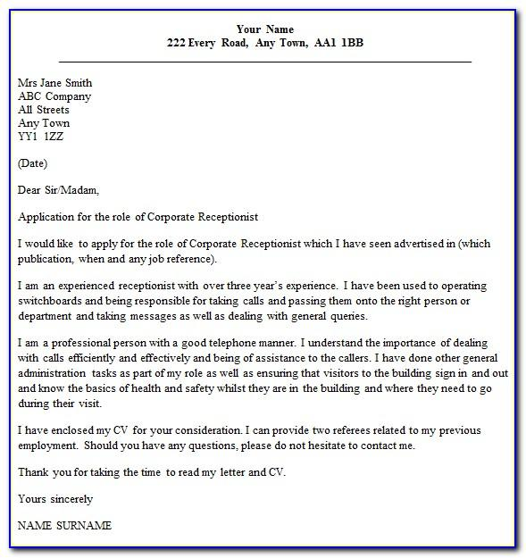 Receptionist Cover Letter Examples No Experience