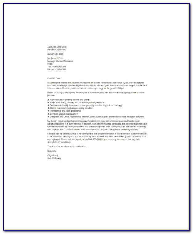 Receptionist Cover Letter No Experience Sample