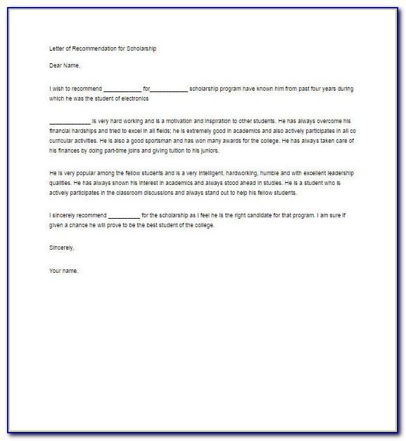 Recommendation Letter For Scholarship From Family Friend Template