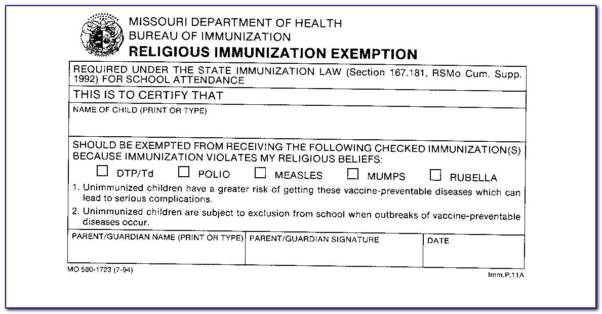 Religious Vaccine Exemption Letter Pa
