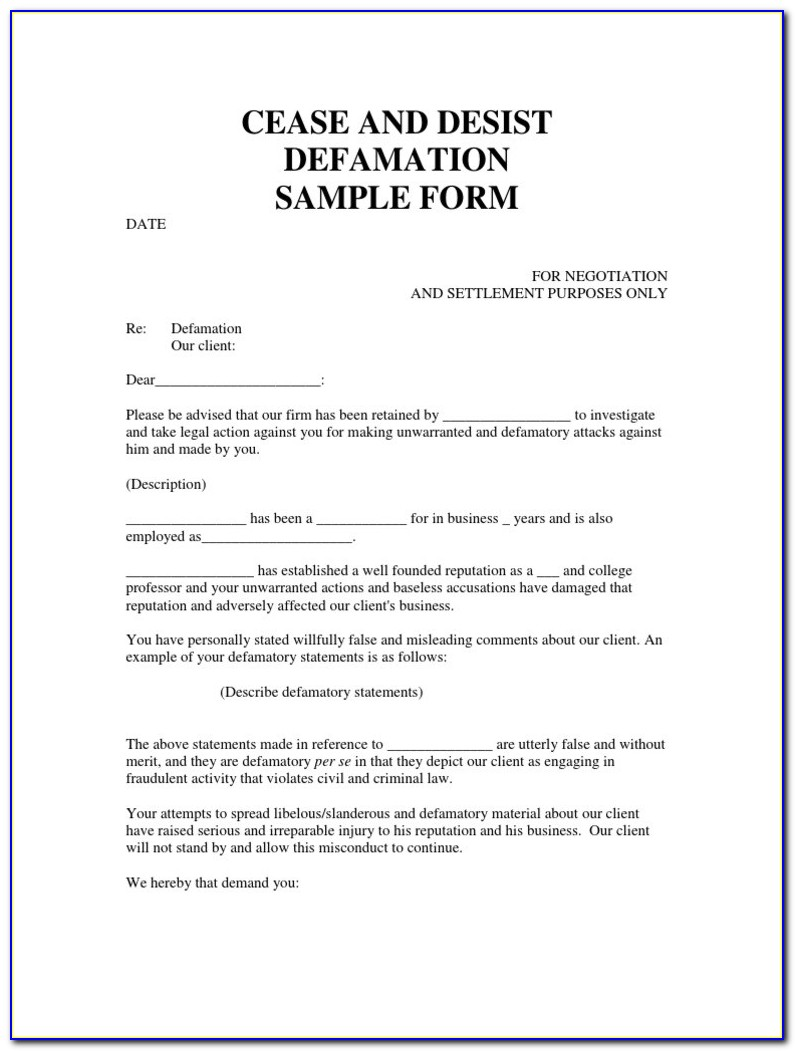 Sample Cease And Desist Letter Confidential Information