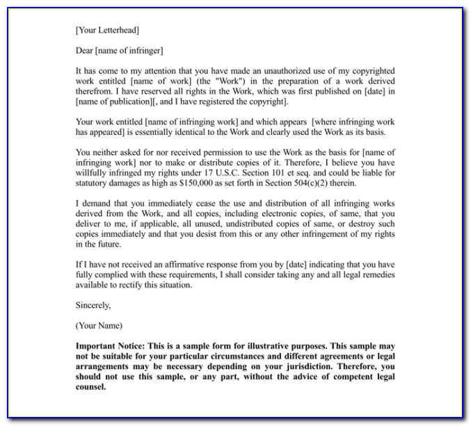 Sample Cease And Desist Letter Slander