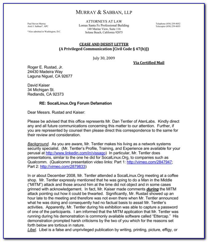 Sample Cease And Desist Letter Trademark Infringement
