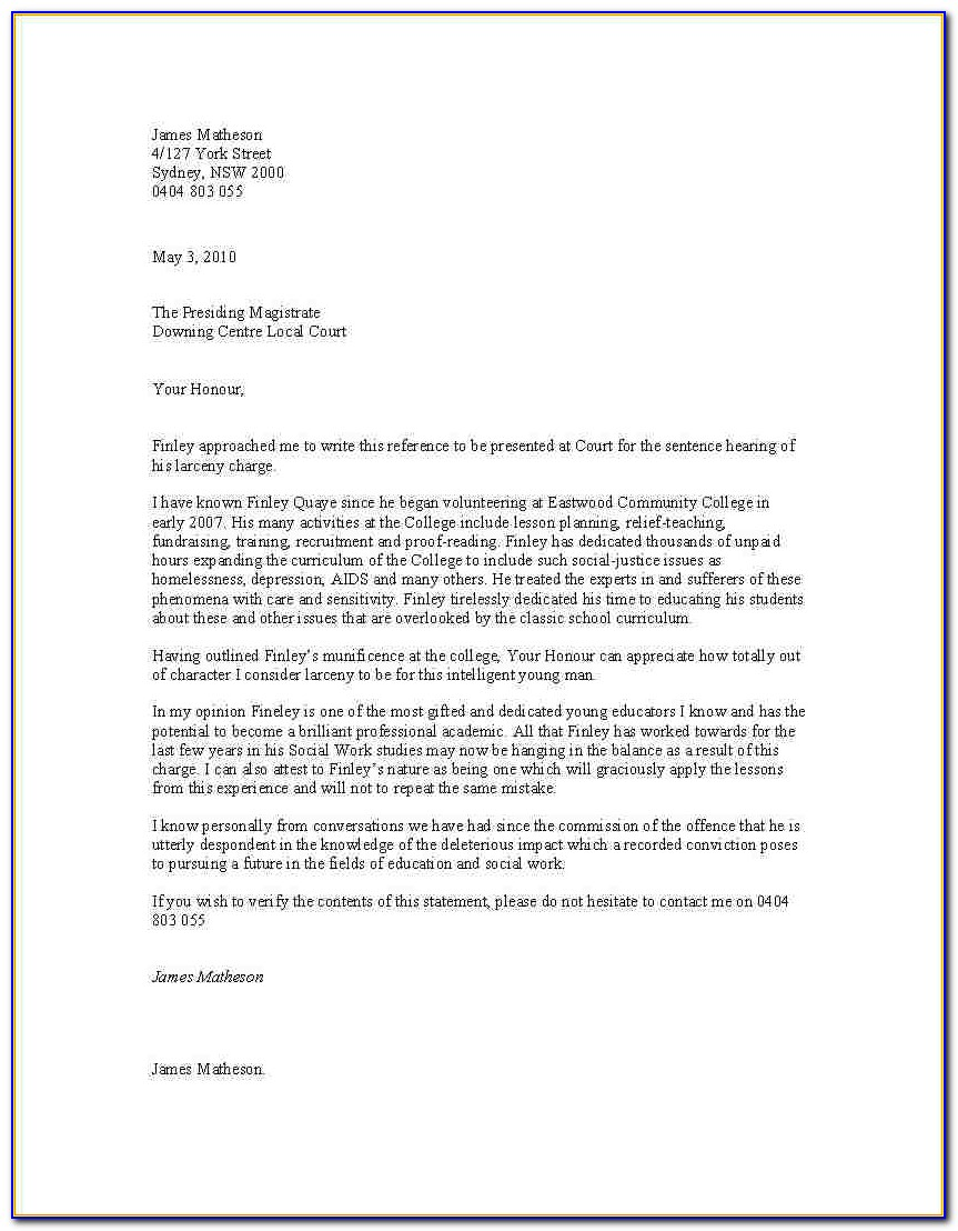 Sample Character Reference Letter For Court Child Custody Template