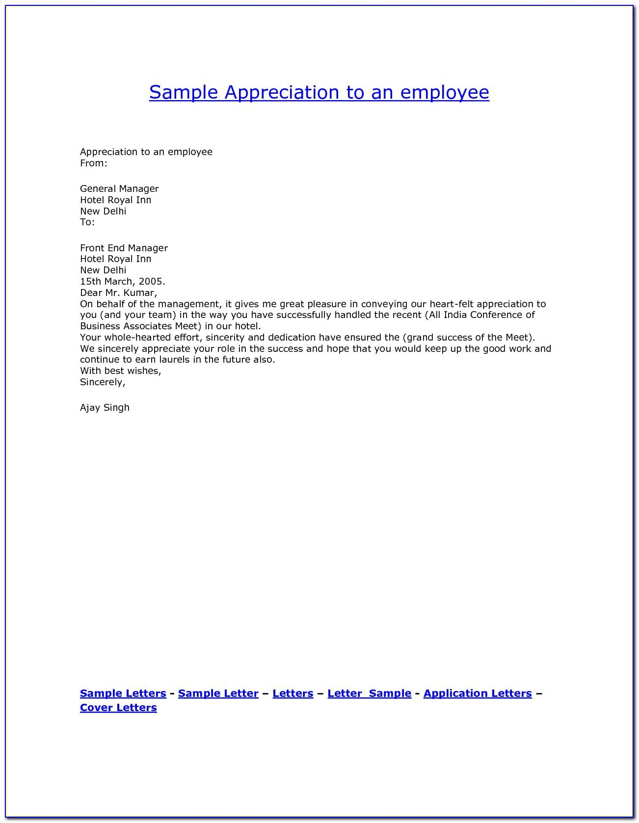 Sample Employee Recognition Nomination Letter