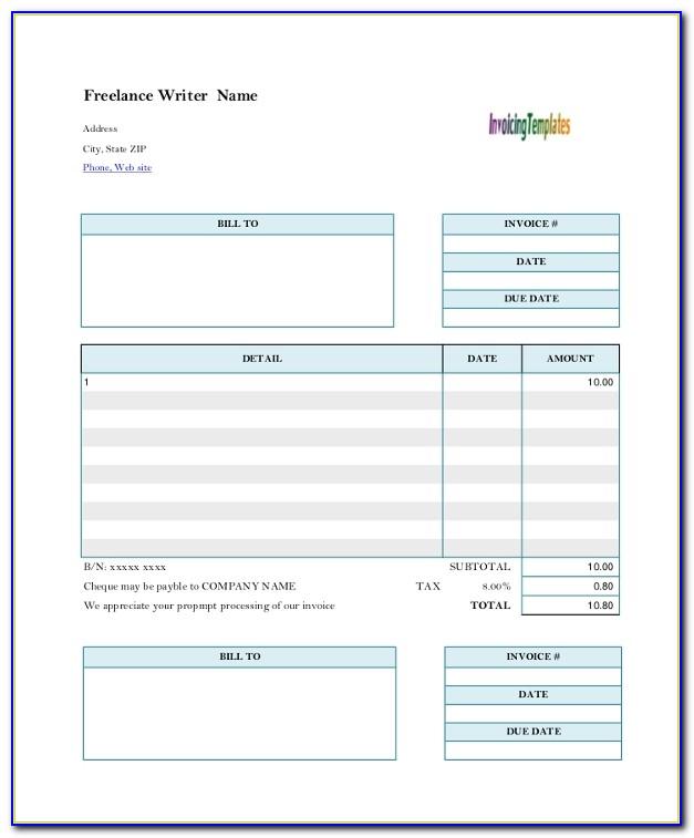 Sample Invoice Freelance Writer