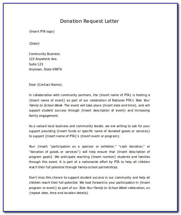 Sample Letter Asking For Donations For School Raffle
