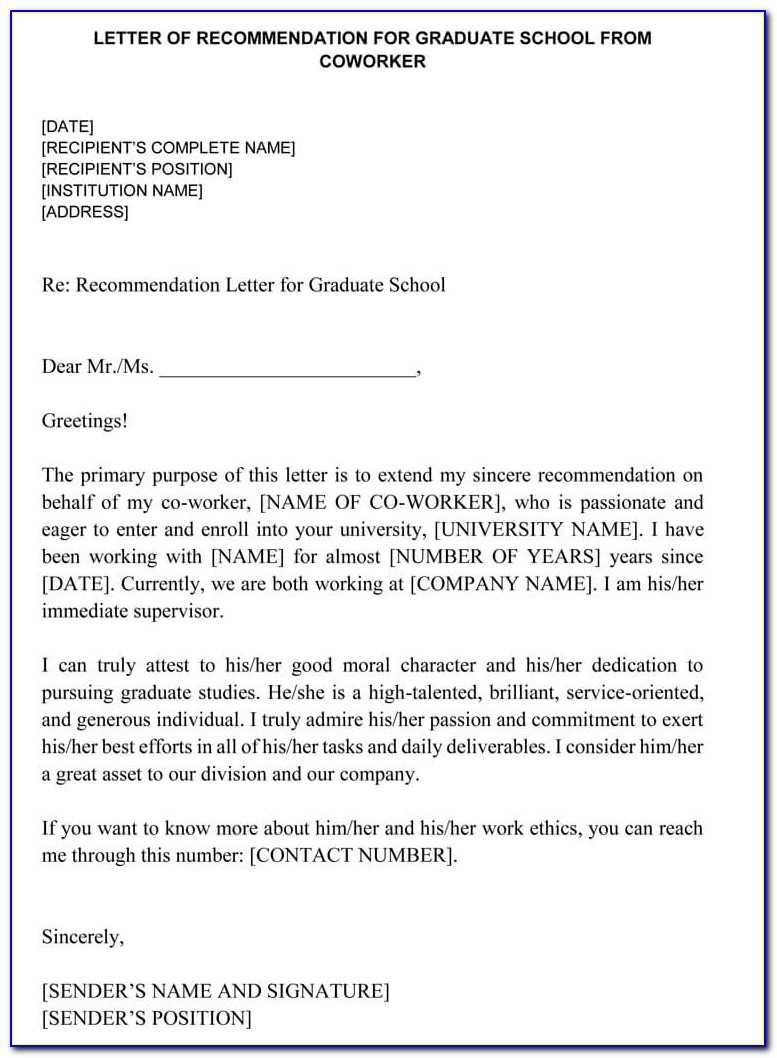 Sample Letter Of Recommendation Coworker For Graduate School