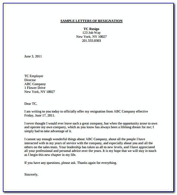 Sample Of Resignation Letter For Teachers
