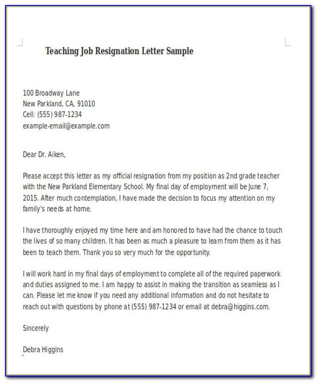 Sample Of Resignation Letter For Teaching Assistant