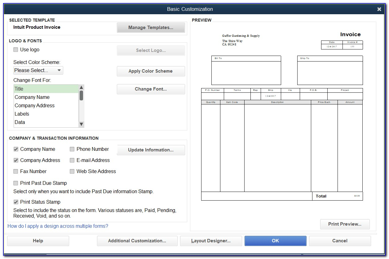 Sample Quickbooks Invoice Template