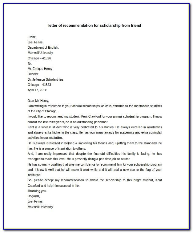 Sample Scholarship Recommendation Letter From Friend