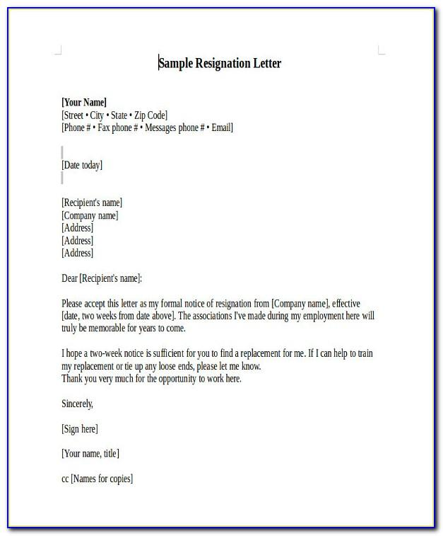 Samples Of Resignation Letter For Teachers