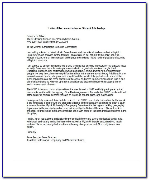 Scholarship Recommendation Letter From Family Friend