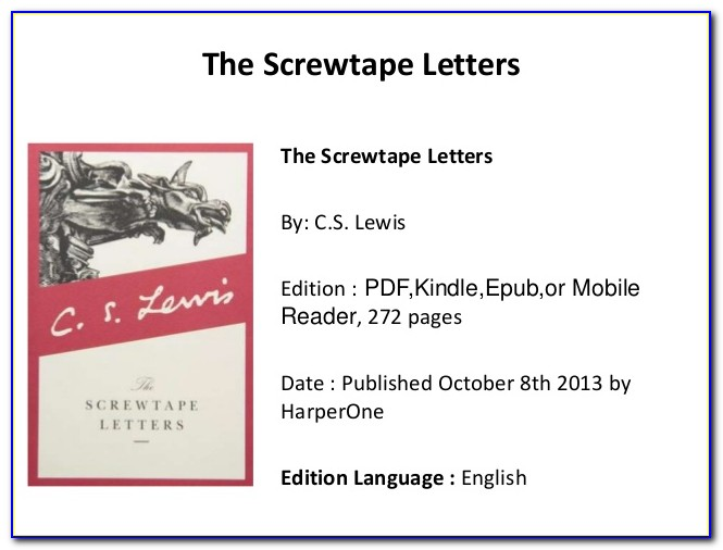 Screwtape Letters Pdf Free