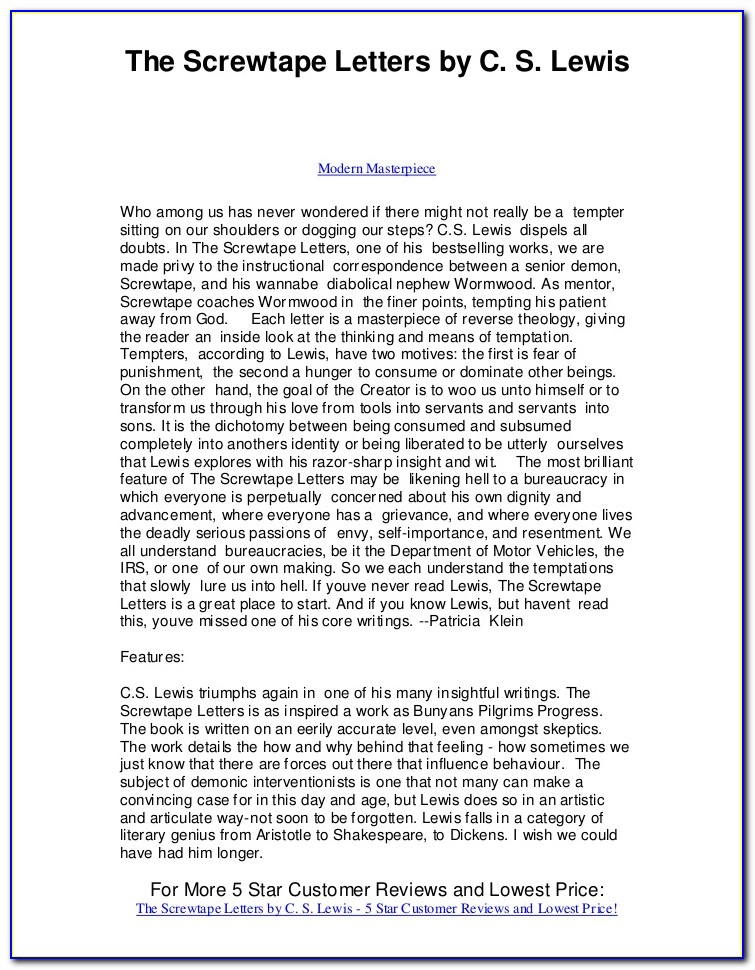 Screwtape Letters Summary Pdf