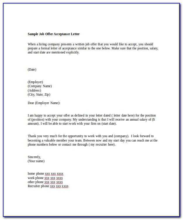 Simple Job Offer Acceptance Letter Sample Pdf