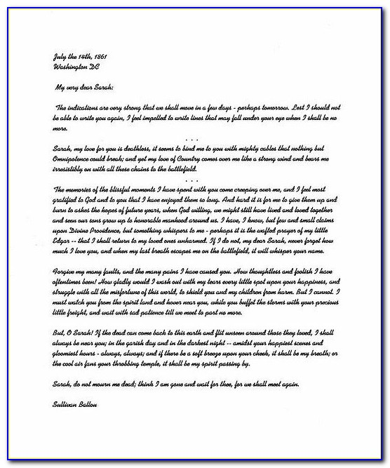 Sullivan Ballou Letter Worksheet